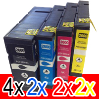 10 Pack Compatible Canon PGI-2600XL PGI2600XL Ink Cartridge High Yield Set (4BK,2C,2M,2Y)