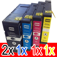 5 Pack Compatible Canon PGI-2600XL PGI2600XL Ink Cartridge High Yield Set (2BK,1C,1M,1Y)