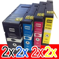 8 Pack Compatible Canon PGI-2600XL PGI2600XL Ink Cartridge High Yield Set (2BK,2C,2M,2Y)