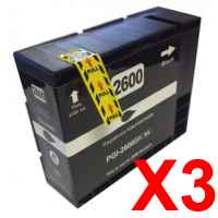 3 x Compatible Canon PGI-2600XLBK Black Ink Cartridge High Yield