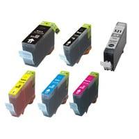 6 Pack Compatible Canon PGI-520 CLI-521 Ink Cartridge Set (1BK,1PBK,1C,1M,1Y,1GY)