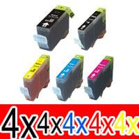 20 Pack Compatible Canon PGI-520 CLI-521 Ink Cartridge Set (4BK,4PBK,4C,4M,4Y)