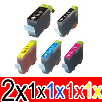 6 Pack Compatible Canon PGI-520 CLI-521 Ink Cartridge Set (2BK,1PBK,1C,1M,1Y)