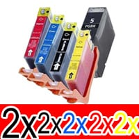 10 Pack Compatible Canon PGI-5 CLI-8 Ink Cartridge Set (2BK,2PBK,2C,2M,2Y)