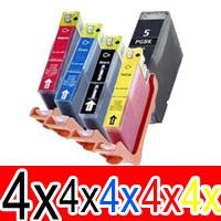 20 Pack Compatible Canon PGI-5 CLI-8 Ink Cartridge Set (4BK,4PBK,4C,4M,4Y)