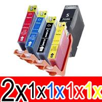 6 Pack Compatible Canon PGI-5 CLI-8 Ink Cartridge Set (2BK,1PBK,1C,1M,1Y)