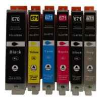 6 Pack Compatible Canon PGI-670XL CLI-671XL Ink Cartridge Set (1BK,1PBK,1C,1M,1Y,1GY)
