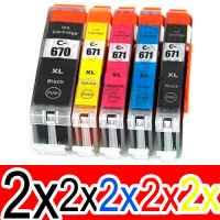 10 Pack Compatible Canon PGI-670XL CLI-671XL Ink Cartridge Set (2BK,2PBK,2C,2M,2Y)