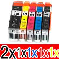 6 Pack Compatible Canon PGI-670XL CLI-671XL Ink Cartridge Set (2BK,1PBK,1C,1M,1Y)