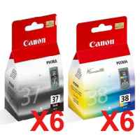 12 Pack Genuine Canon PG-37 CL-38 Ink Cartridge Set (6BK,6C)