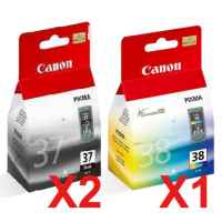 3 Pack Genuine Canon PG-37 CL-38 Ink Cartridge Set (2BK,1C)