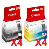 8 Pack Genuine Canon PG-37 CL-38 Ink Cartridge Set (4BK,4C)