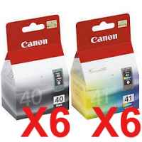 12 Pack Genuine Canon PG-40 CL-41 Ink Cartridge Set (6BK,6C)