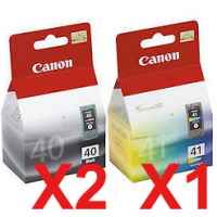 3 Pack Genuine Canon PG-40 CL-41 Ink Cartridge Set (2BK,1C)