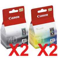 4 Pack Genuine Canon PG-40 CL-41 Ink Cartridge Set (2BK,2C)