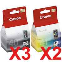 5 Pack Genuine Canon PG-40 CL-41 Ink Cartridge Set (3BK,2C)