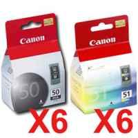 12 Pack Genuine Canon PG-50 CL-51 Ink Cartridge Set (6BK,6C)