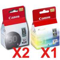 3 Pack Genuine Canon PG-50 CL-51 Ink Cartridge Set (2BK,1C)