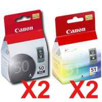 4 Pack Genuine Canon PG-50 CL-51 Ink Cartridge Set (2BK,2C)