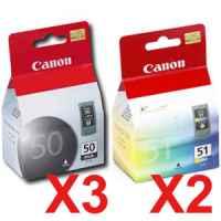 5 Pack Genuine Canon PG-50 CL-51 Ink Cartridge Set (3BK,2C)