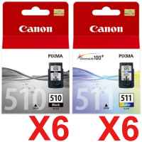 12 Pack Genuine Canon PG-510 CL-511 Ink Cartridge Set (6BK,6C)