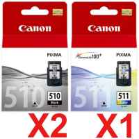 3 Pack Genuine Canon PG-510 CL-511 Ink Cartridge Set (2BK,1C)