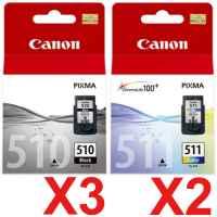 5 Pack Genuine Canon PG-510 CL-511 Ink Cartridge Set (3BK,2C)