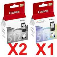 3 Pack Genuine Canon PG-512 CL-513 Ink Cartridge Set High Yield (2BK,1C)