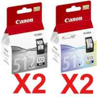 4 Pack Genuine Canon PG-512 CL-513 Ink Cartridge Set High Yield (2BK,2C)