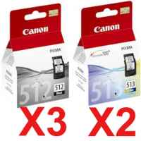 5 Pack Genuine Canon PG-512 CL-513 Ink Cartridge Set High Yield (3BK,2C)