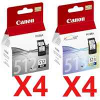 8 Pack Genuine Canon PG-512 CL-513 Ink Cartridge Set High Yield (4BK,4C)