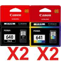 4 Pack Genuine Canon PG-640 CL-641 Ink Cartridge Set Standard Yield (2BK,2C)