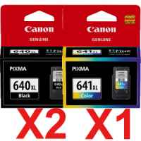 3 Pack Genuine Canon PG-640XL CL-641XL Ink Cartridge Set High Yield (2BK,1C)