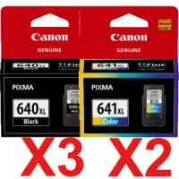 5 Pack Genuine Canon PG-640XL CL-641XL Ink Cartridge Set High Yield (3BK,2C)