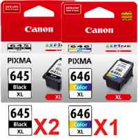 3 Pack Genuine Canon PG-645XL CL-646XL Ink Cartridge Set High Yield (2BK,1C)
