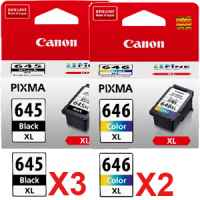 5 Pack Genuine Canon PG-645XL CL-646XL Ink Cartridge Set High Yield (3BK,2C)