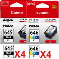 8 Pack Genuine Canon PG-645XL CL-646XL Ink Cartridge Set High Yield (4BK,4C)