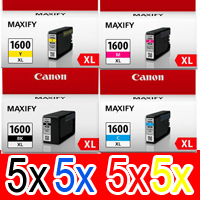 20 Pack Genuine Canon PGI-1600XL PGI-1600XL Ink Cartridge Set High Yield (5BK,5C,5M,5Y)