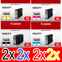 8 Pack Genuine Canon PGI-1600XL PGI-1600XL Ink Cartridge Set High Yield (2BK,2C,2M,2Y)