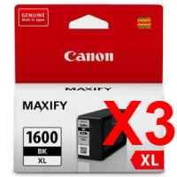 3 x Genuine Canon PGI-1600XLBK Black Ink Cartridge High Yield