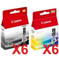 12 Pack Genuine Canon PGI-35BK CLI-36C Ink Cartridge Set (6BK,6C)