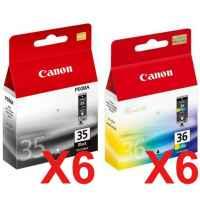 12 Pack Genuine Canon PGI-35BK CLI-36C Ink Cartridge Set (6BK,6C)