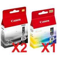 3 Pack Genuine Canon PGI-35BK CLI-36C Ink Cartridge Set (2BK,1C)