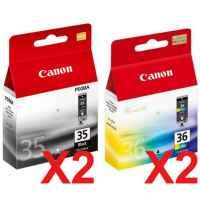 4 Pack Genuine Canon PGI-35BK CLI-36C Ink Cartridge Set (2BK,2C)