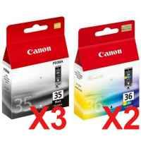 5 Pack Genuine Canon PGI-35BK CLI-36C Ink Cartridge Set (3BK,2C)