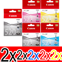 10 Pack Genuine Canon PGI-520 CLI-521 Ink Cartridge Set (2BK,2PBK,2C,2M,2Y)