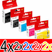 12 Pack Genuine Canon PGI-525 CLI-526 Ink Cartridge Set (4BK,2PBK,2C,2M,2Y)