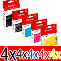 20 Pack Genuine Canon PGI-525 CLI-526 Ink Cartridge Set (4BK,4PBK,4C,4M,4Y)