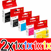 6 Pack Genuine Canon PGI-525 CLI-526 Ink Cartridge Set (2BK,1PBK,1C,1M,1Y)