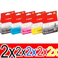 10 Pack Genuine Canon PGI-5 CLI-8 Ink Cartridge Set (2BK,2PBK,2C,2M,2Y)